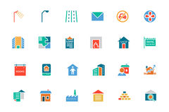 Real Estate Colored Vector Icons 6. This trendy set of real estate  icons are just perfect for real estate agencies and home insurance agencies, adverts and Royalty Free Stock Photo