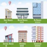 Real Estate comercial e residencial Infographics, grupo de 6 construções Ilustração do vetor Fotografia de Stock