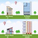 Real Estate comercial e residencial Infographics, grupo de 4 construções Ilustração do vetor Fotografia de Stock