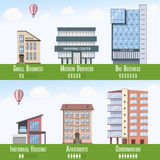 Real Estate commercial et résidentiel Infographics, ensemble de 6 bâtiments Illustration de vecteur illustration stock