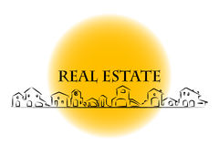 Real estate Company. Real estate business card with houses silhouette