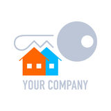 Real estate company logo. With key and color houses Royalty Free Stock Image
