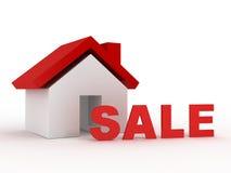 Real Estate con la vendita rossa manda un sms a Fotografia Stock
