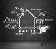 Real estate concep. Realtor looking at drawing real estate concept on desk Royalty Free Stock Photos