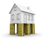 Real estate concept. One house on top of  four stacks of coins (3d render Royalty Free Stock Images