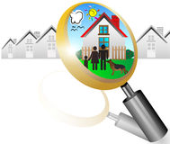 Real estate concept. With magnifying glass and your dream house  illustration Royalty Free Stock Photos
