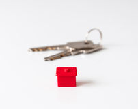 Real estate concept. With a red house and home keys Stock Photography