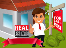 Real estate concept. Real estate agent  shows the thumb up and  pointing  at  sold house Royalty Free Stock Photography