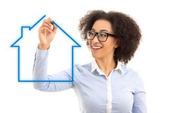Real estate concept - beautiful african american business woman Royalty Free Stock Photography
