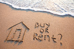 Real estate concept, buy vs rent. Buy or rent concept, text on the sand, real estate Royalty Free Stock Images