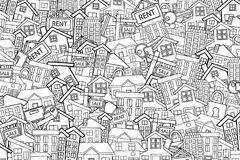 Real estate concept in 3d cartoon doodle background design. Coloring page. Real estate concept cartoon doodles background design. Hand drawn black and white Royalty Free Stock Photography