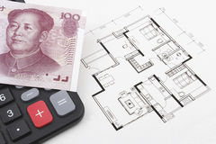 Real estate concept with Chinese money (RMB). Real estate concept with Chinese (RMB) on a calculator Stock Photos