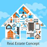 Real Estate Concept. With commercial building residential property decorative icons in house shape vector illustration Royalty Free Stock Image