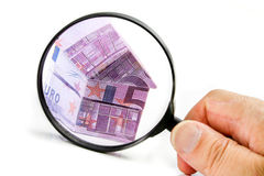 Real estate concept with Euro bank notes Stock Photos