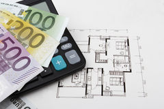 Real estate concept with Euros (EUR). Real estate concept with a 100, 200 and a 500 Euro bill (EUR Royalty Free Stock Photos