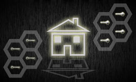 Real estate concept. Home riddled with secrets galore Stock Images