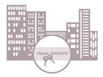 Real estate concept with a house and key Stock Photo