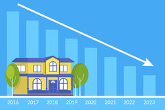 Real estate concept of the house and loan payment graph behind Stock Photography