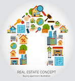 Real Estate Concept. With house and purchase symbols flat vector illustration Stock Images