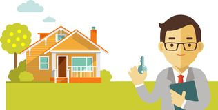 Real estate concept with house and realtor in flat. Realtor man with key on house background Royalty Free Illustration