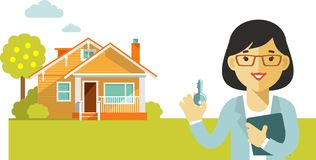 Real estate concept with house and realtor in flat. Realtor woman with key on house background Stock Image