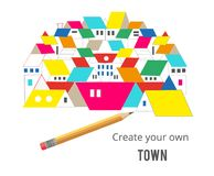 Real estate concept - houses drawing and pencil illustration, vector royalty free illustration