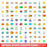100 real estate concept icons set, cartoon style Stock Image