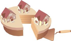 Real estate concept illustrati. The construction symbol with trowel and house Royalty Free Stock Images