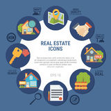 Real Estate Concept Illustration. Real estate concept with contract and house symbols on blue background flat vector illustration Royalty Free Stock Images