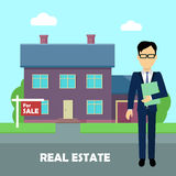 Real Estate Concept Illustration in Flat Design. Real estate conceptual vector in flat design. Realtor with documents standing near house on sale. Buying a new Royalty Free Stock Images