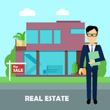 Real Estate Concept Illustration in Flat Design. Real estate concept vector. Flat design. Realtor with documents standing near modern house on sale. Buying a Royalty Free Stock Photo