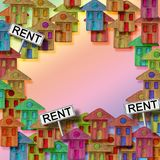 Real estate concept image with colorful cartoon doodles backgrou. Nd design and placards with written rent on it stock photo