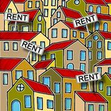 Real estate concept image with colorful cartoon doodles background design and placards with written rent on it.  stock illustration