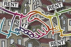 Real estate concept image with colorful cartoon doodles background design, placards with written 'rent' on it and handshake on. Real estate concept image with royalty free illustration