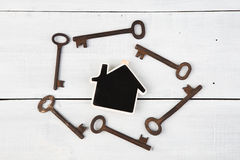 Real estate concept - little house and keys on white wooden desk Royalty Free Stock Photo