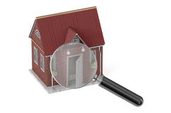 Real estate concept with magnifying glass Royalty Free Stock Images
