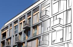 Real estate concept - modern building facade drawing Stock Photography