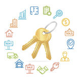 Real Estate Concept and Outline Icon Set. Vector Stock Photos