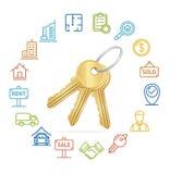 Real Estate Concept and Outline Icon Set. Vector Stock Photos