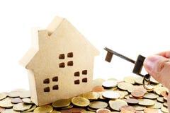 Real Estate concept. Real estate agent handing over house keys stock image