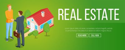 Real estate concept. Seller and the buyer in the background of the house. Isometric banner. Highly detailed illustration Royalty Free Stock Photography