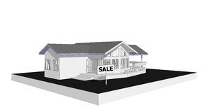 Real estate concept sign show for sale new house 3D model computer. Stock Images