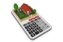 Real Estate Concept. Small House with Fence and Garden over Calc. Ulator on a white background. 3d Rendering Stock Image