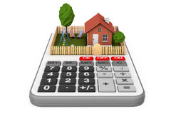 Real Estate Concept. Small House with Fence and Garden over Calc. Ulator on a white background. 3d Rendering Stock Images