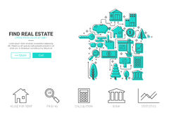 Real Estate Concept. Real state flat design for landing page website or magazine illustration print Royalty Free Stock Photo