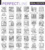 Real Estate concept symbols. Perfect thin line icons. Modern stroke linear style illustrations set. stock illustration