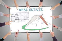 Real estate concept on a whiteboard Stock Photos