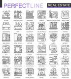 Real Estate-conceptensymbolen Perfecte dunne lijnpictogrammen De moderne geplaatste illustraties van de slag lineaire stijl Stock Fotografie