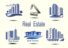 Vector icons for real estate construction.Vector icons of architecture, urban and suburban homes. For real estate construction.Vector icons of architecture Stock Photos