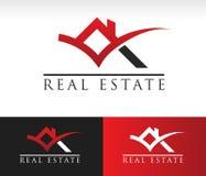 Real Estate contiene el icono del tejado Foto de archivo